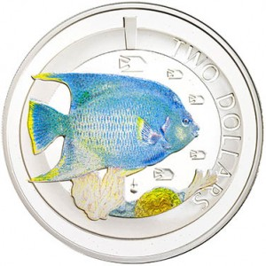 Silver Proof Blue Angel Fish Coin