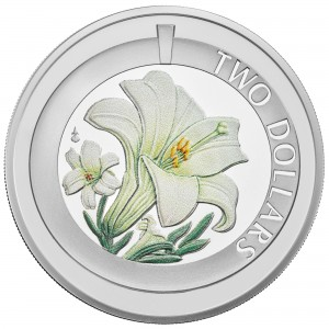 Silver, Colour printed Easter Lily
