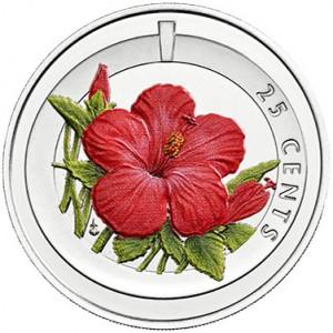 Cupronickel, Colour Printed Hibiscus(25c)