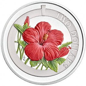 Silver, Colour Printed Hibiscus