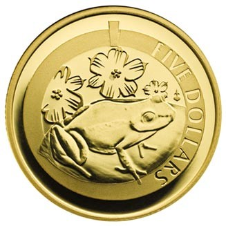 2014 GOLD PROOF 1/20th oz WHISTLING FROG