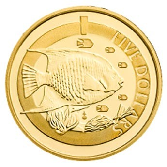 2013 GOLD PROOF 1/20th BLUE ANGEL FISH COIN