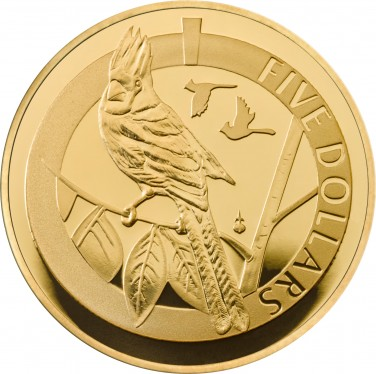 Gold Proof 1/20th Oz Northern Cardinal
